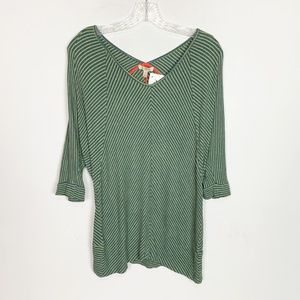 Bordeaux Anthro green striped 3/4 sleeve top M